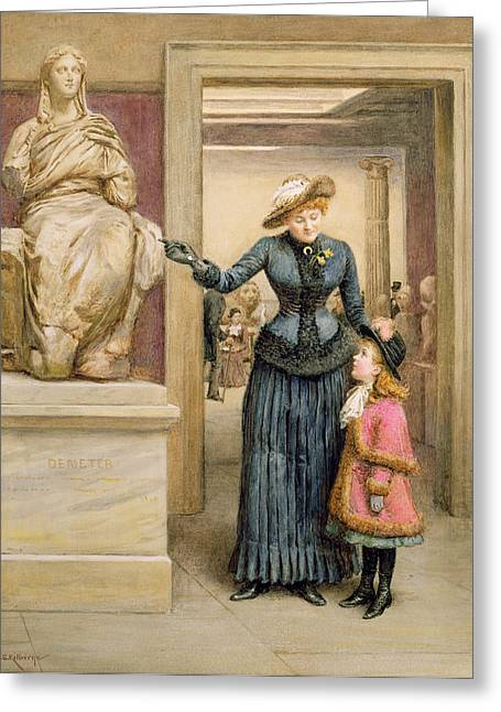 At The British Museum Greeting Card by George Goodwin Kilburne