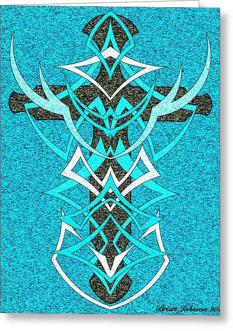At The Cross Tile 2 Greeting Card by Brian Johnson