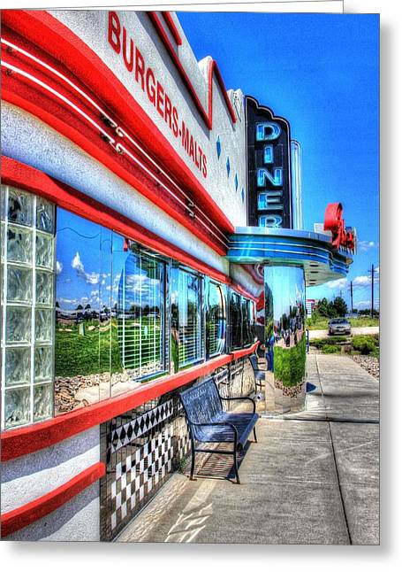 At The Diner 1 Greeting Card by Diane Alexander