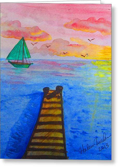 At The Dock Greeting Card by Haleema Nuredeen