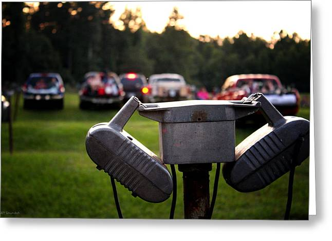 At The Drive-in - Before The Show Greeting Card by Greg Simmons