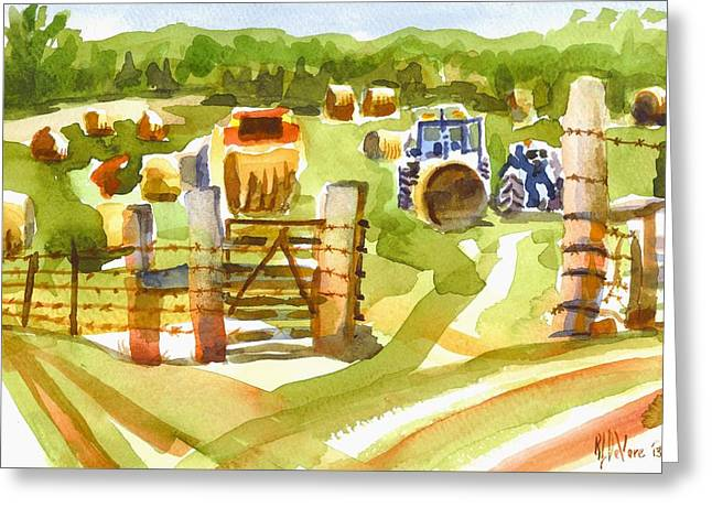 At The Farm Baling Hay Greeting Card