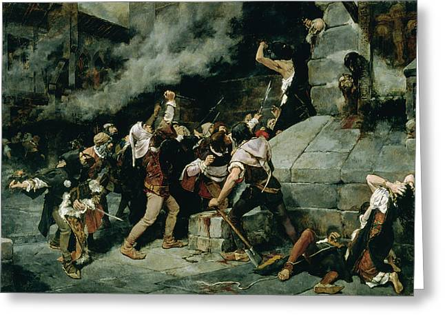 At The Feet Of The Saviour, Slaughter Of The Jews In The Middle Ages, 1887 Oil On Canvas Greeting Card by Vicente Cutanda y Toraya