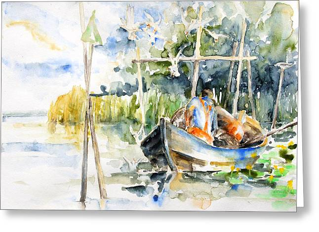 At The Fish Trap Greeting Card by Barbara Pommerenke