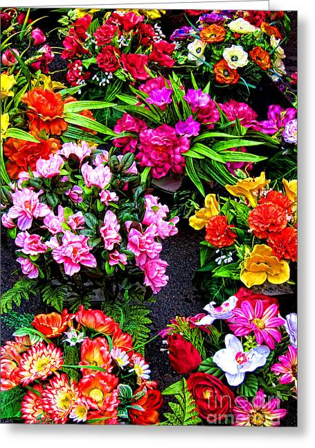 At The Flower Market  Greeting Card by Olivier Le Queinec