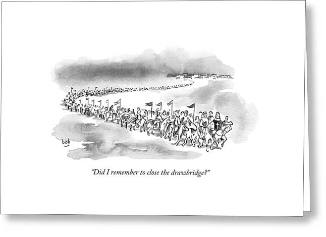 At The Front Of A Marching Army On Horseback Greeting Card by Bob Eckstein