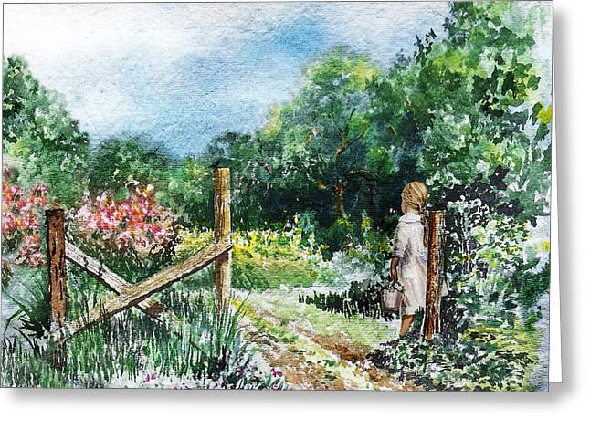 At The Gate Summer Landscape Greeting Card