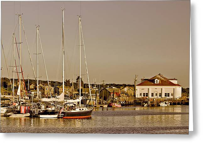 At The Harbor - Martha's Vineyard Greeting Card by Kim Hojnacki