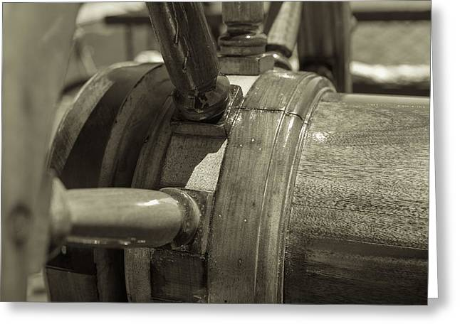 At The Helm Black And White Sepia Greeting Card