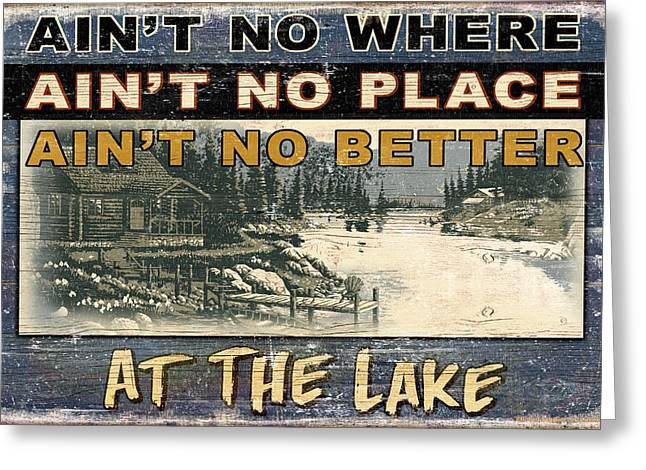 At The Lake Sign Greeting Card by JQ Licensing