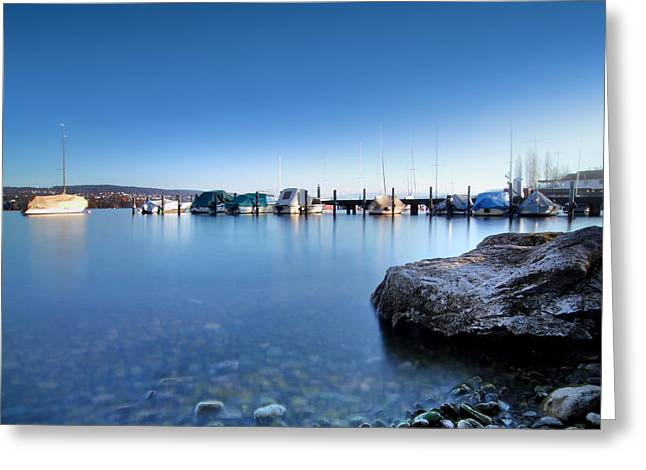 At The Lake Zuerich Greeting Card by Marc Huebner