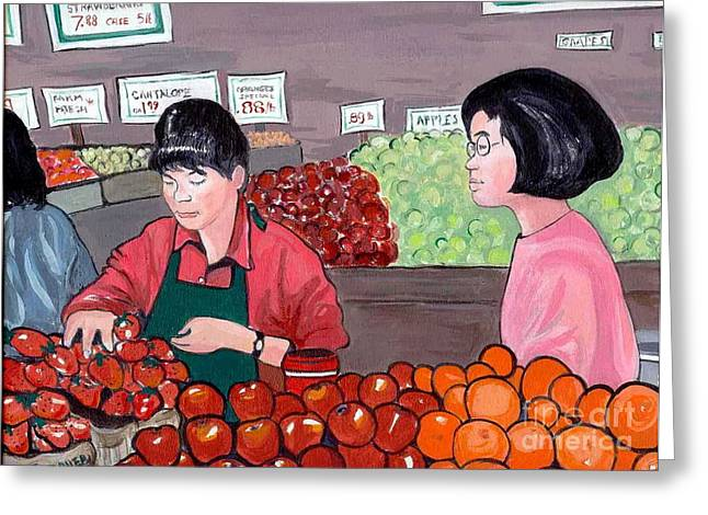 Greeting Card featuring the painting At The Market by Joyce Gebauer