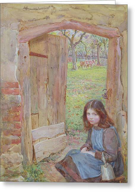 At The Orchard Gate, 1903 Greeting Card