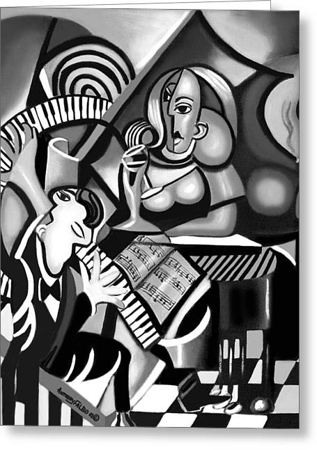 At The Piano Bar Greeting Card by Anthony Falbo
