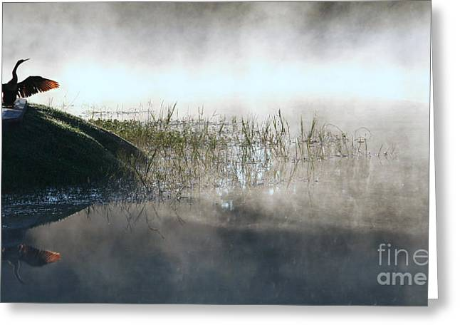 At The Pond Greeting Card by Monika A Leon