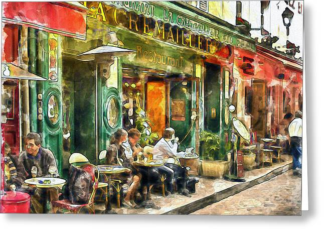At The Restaurant In Paris Greeting Card by Marian Voicu