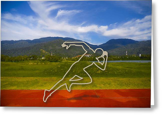 At The Running Track Greeting Card by Ym Chin