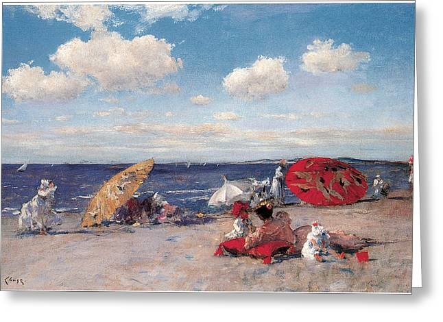 At The Seaside Greeting Card by William Merritt Chase