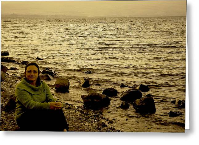 At The Shores Of The Sea Of Galilee Greeting Card by Sandra Pena de Ortiz