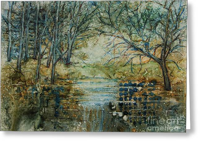At The Stream Greeting Card by Janet Felts