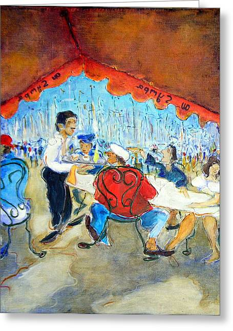 At The Sympa Cafe - Original Sold Greeting Card by Bernard RENOT