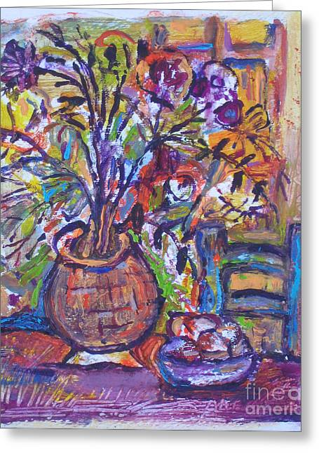 At The Table Greeting Card by Marlene Robbins