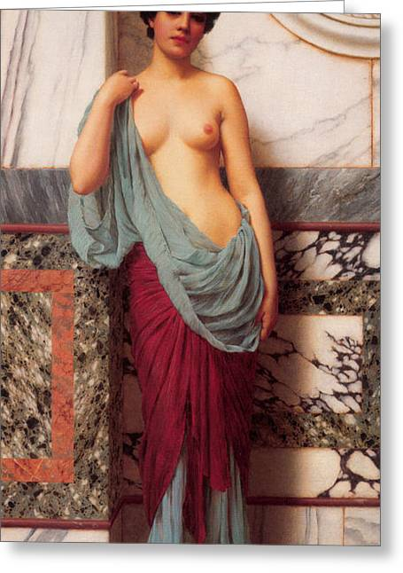 At The Thermae Greeting Card by John William Godward