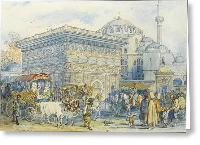 At The Tophane Fountain Greeting Card by Amadeo Preziosi