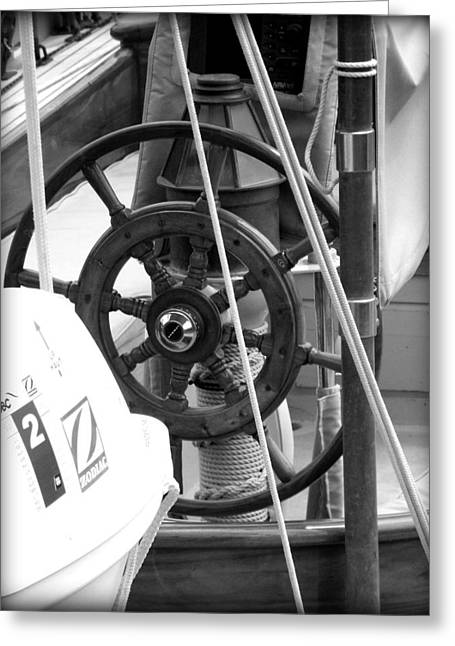 At The Wheel Bw Greeting Card by Dancingfire Brenda Morrell