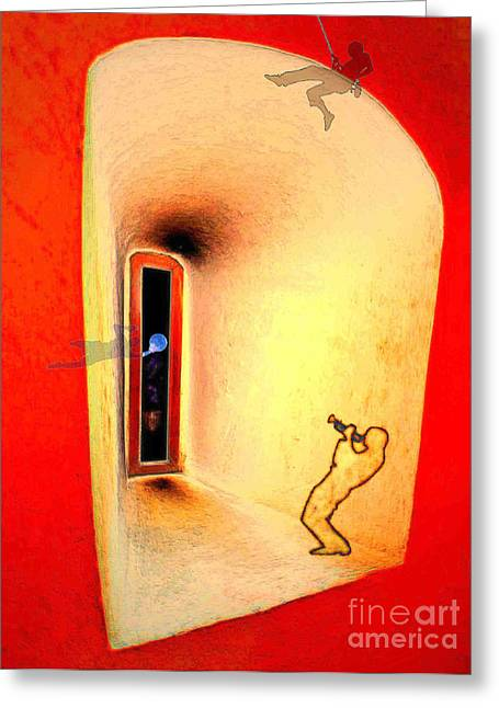 Greeting Card featuring the digital art At The Window 01 by Mojo Mendiola