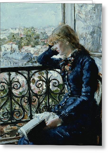 At The Window Greeting Card by Hans Olaf Heyerdahl