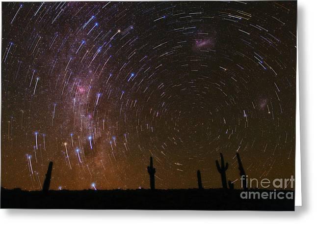 Atacama Cactus And Rotating Sky Greeting Card by Babak Tafreshi