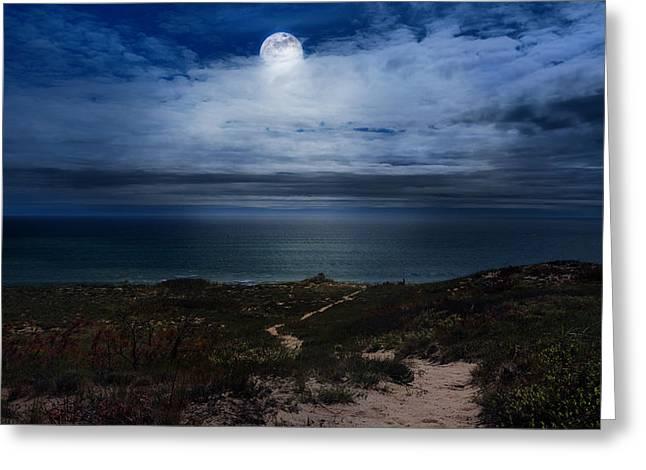 Atlantic Moon Greeting Card by Bill Wakeley