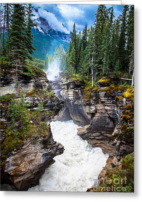 Athabasca Falls Greeting Card by Chris Heitstuman