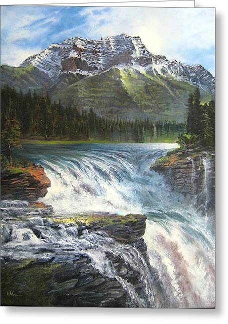 Greeting Card featuring the painting Athabasca Falls by LaVonne Hand