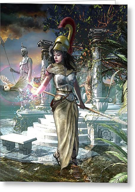 Athena The Greek Virgin Goddess Greeting Card by Kurt Miller