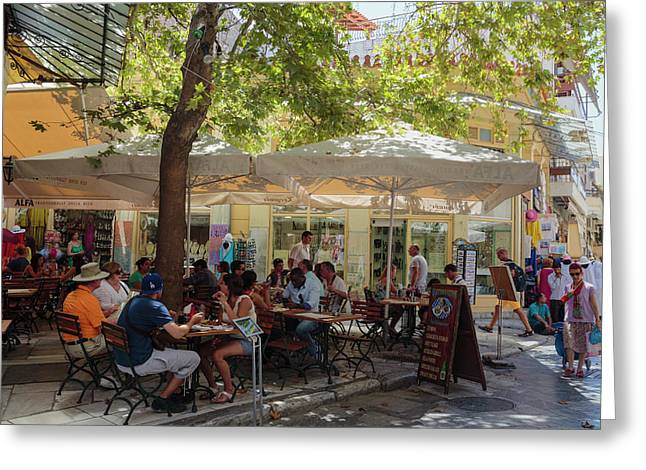 Athens, Greece.  Scene In Plaka Greeting Card by Ken Welsh