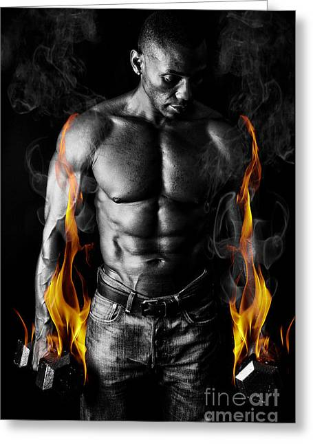 Athletic Muscular Young Man With Weights On Fire For Motivation  Greeting Card by Jt PhotoDesign