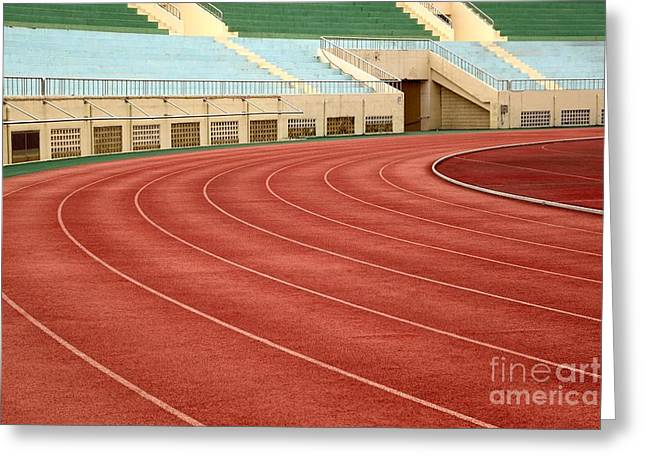 Athletic Track And Field Markings Greeting Card