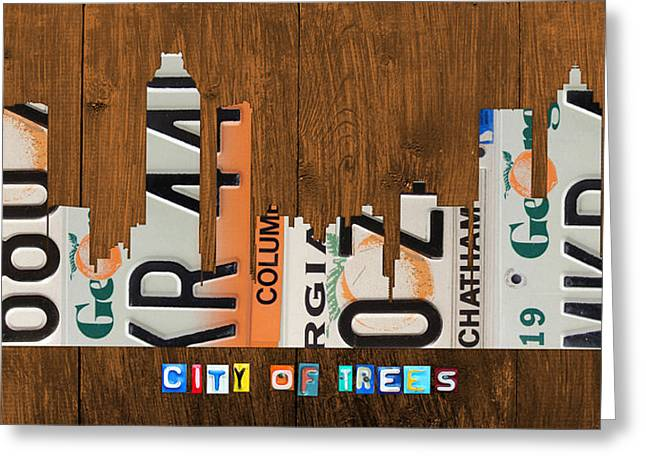 Atlanta Georgia City Skyline Vintage License Plate Art On Wood Greeting Card by Design Turnpike