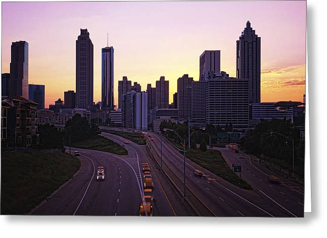 Atlanta Georgia Sunset Or Sunrise Skyline Greeting Card