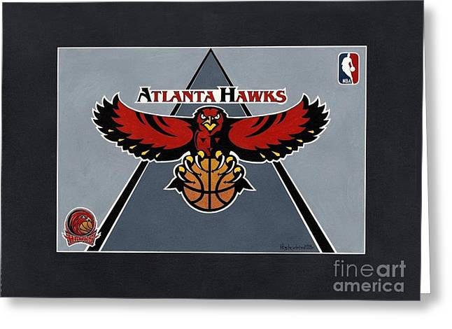 Atlanta Hawks T-shirt Greeting Card by Herb Strobino