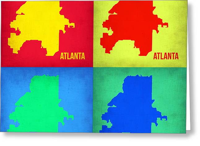 Atlanta Pop Art Map 1 Greeting Card