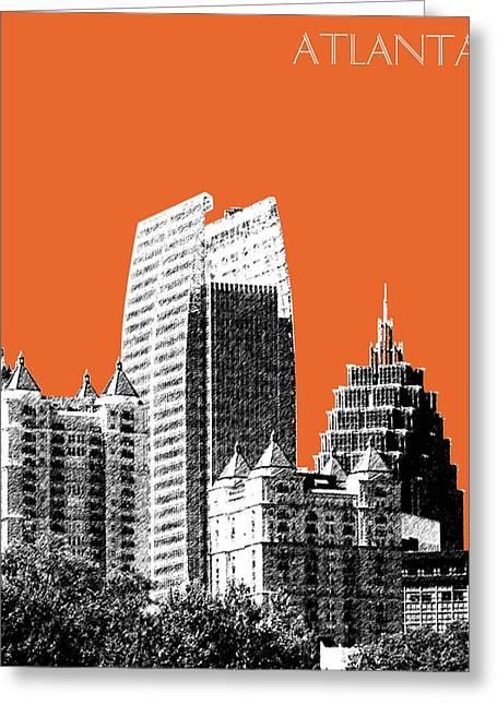 Atlanta Skyline 2 - Coral Greeting Card by DB Artist