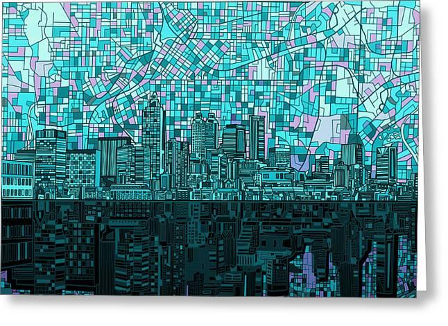 Atlanta Skyline Abstract 2 Greeting Card by Bekim Art