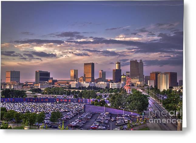 Atlanta Sunset Fulton County Stadium Braves Game  Greeting Card