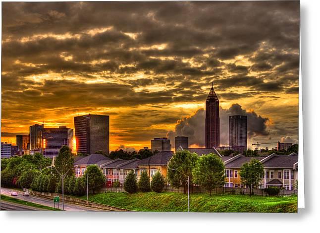 Atlanta Sunset Reflections Greeting Card by Reid Callaway