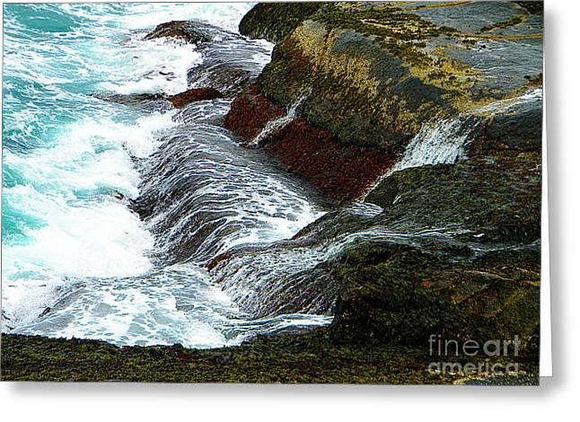 Atlantic Blue On The Rocks Greeting Card by Lorraine Heath