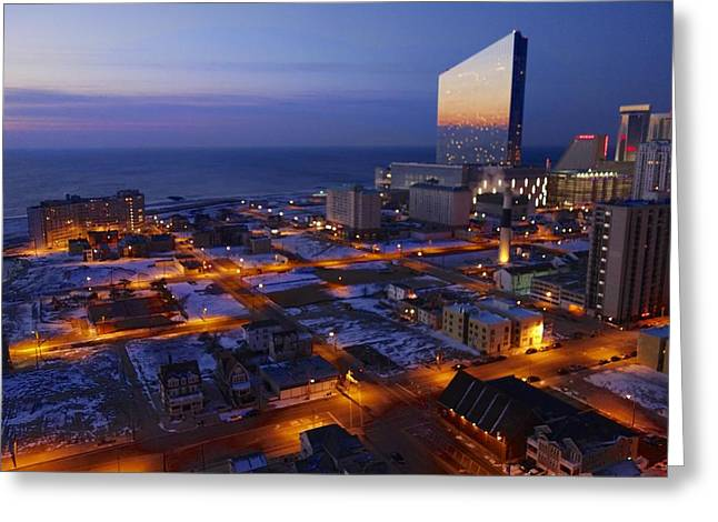 Atlantic City At Dawn Greeting Card by Joan Reese