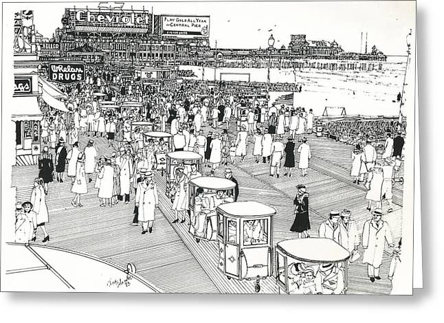 Greeting Card featuring the drawing Atlantic City Boardwalk 1940 by Ira Shander
